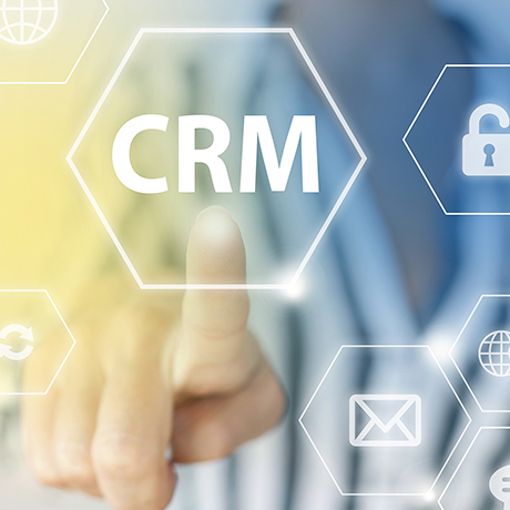 Picture of finger pressing CRM button