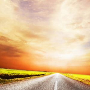 picture of road with horizon in the distance