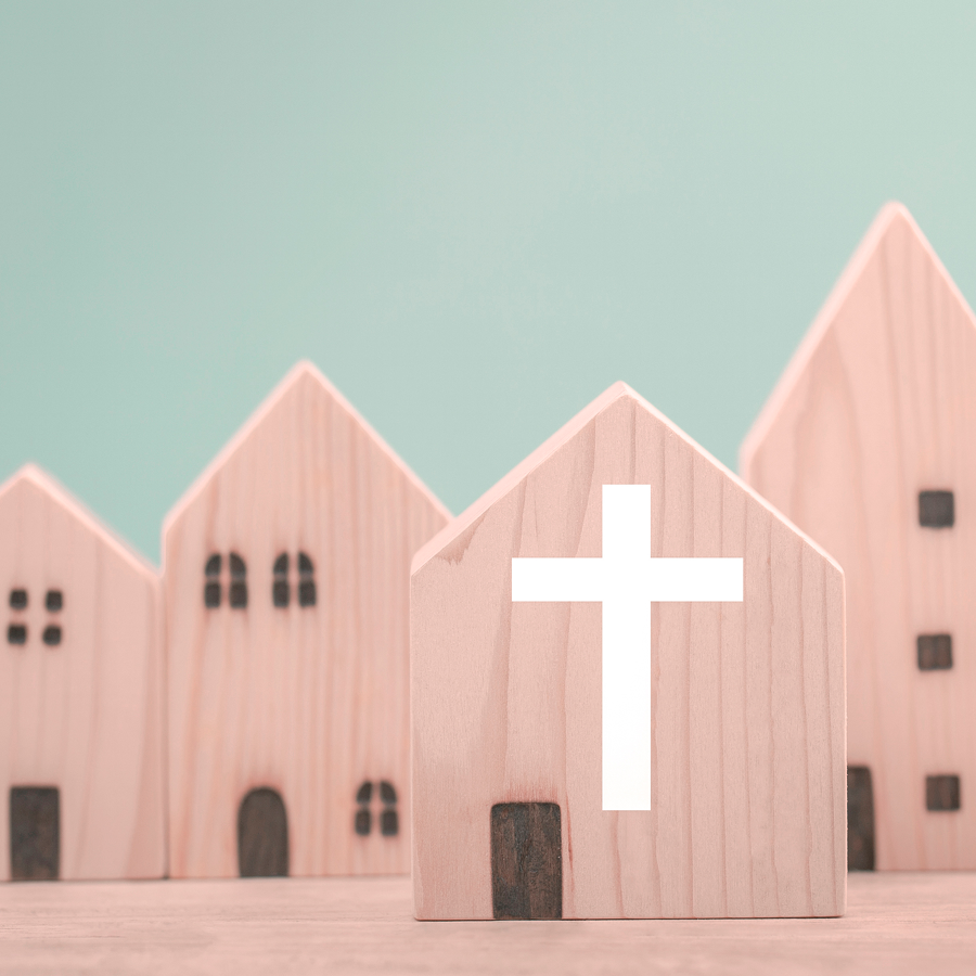 picture of wooden block church