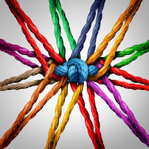 Picture of multi-coloured ropes knotted together