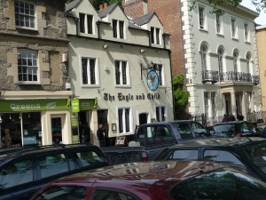 Exterior of The Eagle & Child pub