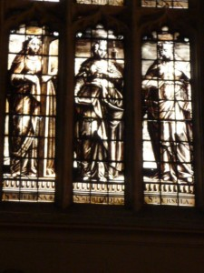 Sepia-toned stained glass window