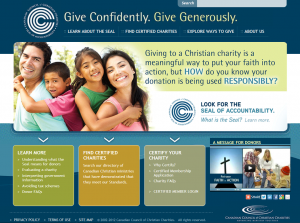 Image of the home page of the new donor website at giveconfidently.ca