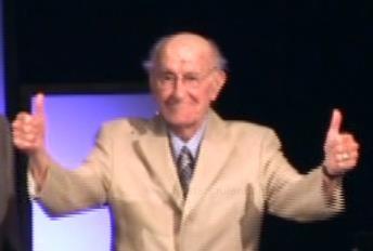 John Richardson greeting the church