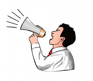 Cartoon of a man and megaphone