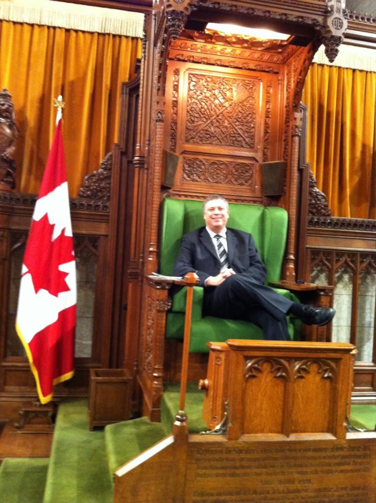 John sitting in the Speaker's Chair