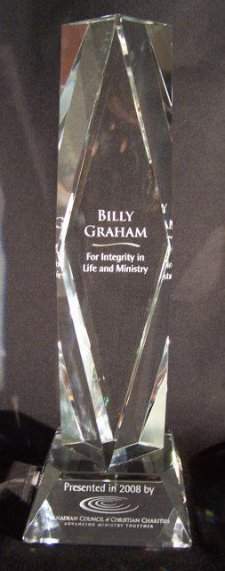 Award to Billy Graham for Integrity in Life and Ministry, Presented in 2008 by the Canadian Council of Christian Charities