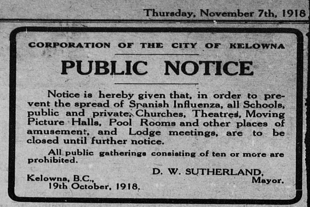 Public notice closing churches in Kelowna, BC in 1918 due to the Spanish Flu epidemic.